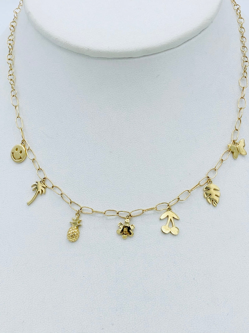 14k Gold 7 Piece Charm Necklace