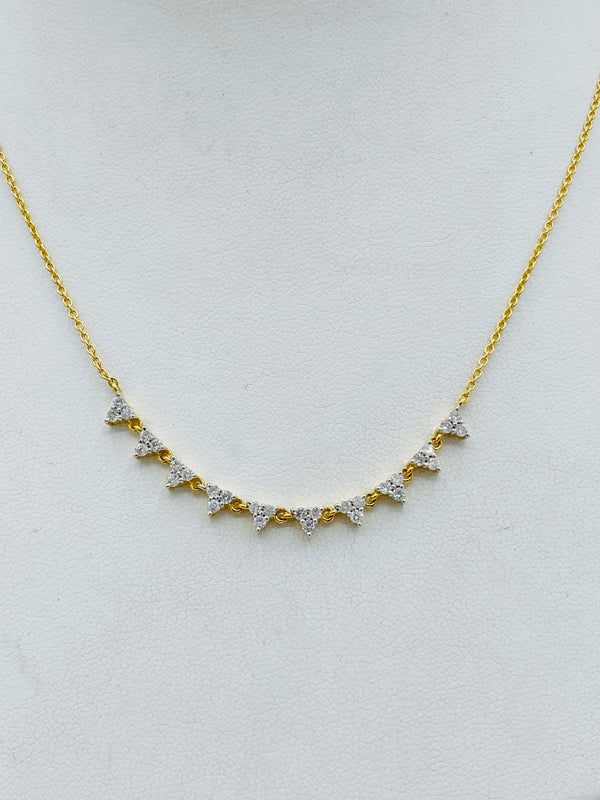 14k Gold with Triangle Diamonds Necklace