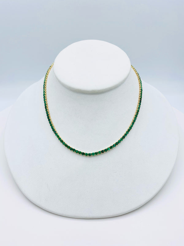 14k Gold & Emerald Tennis Necklace