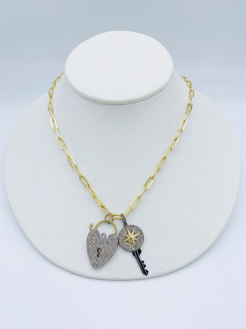14k Gold with Diamond Heart and Key Necklace