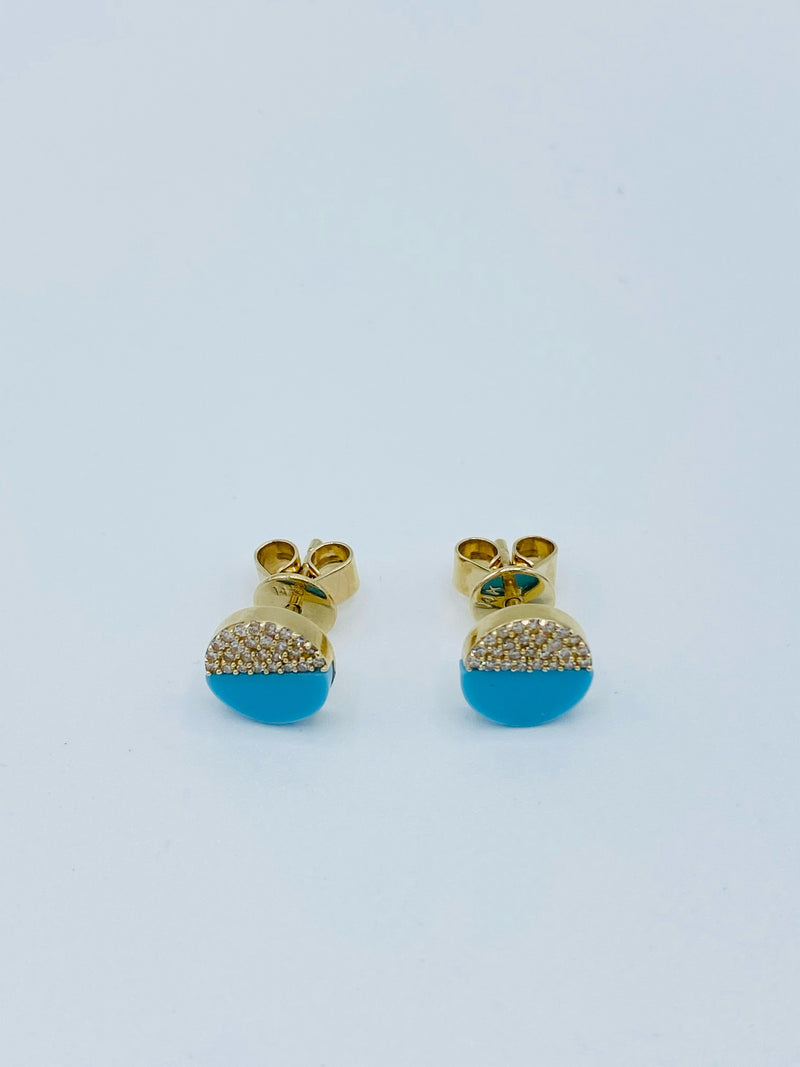 14k Gold Nail Stud Turquoise and Diamond Earrings