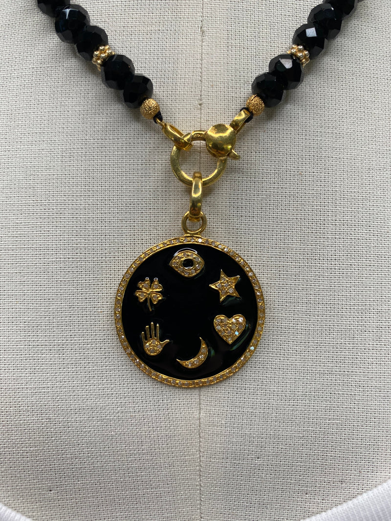 Good Luck Enamel Charm Necklace