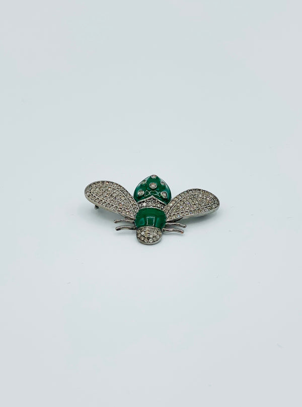 Green Enamel Bug Pin