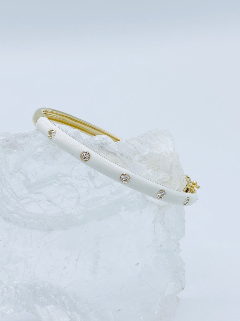 14k Gold and White Enamel Bracelet