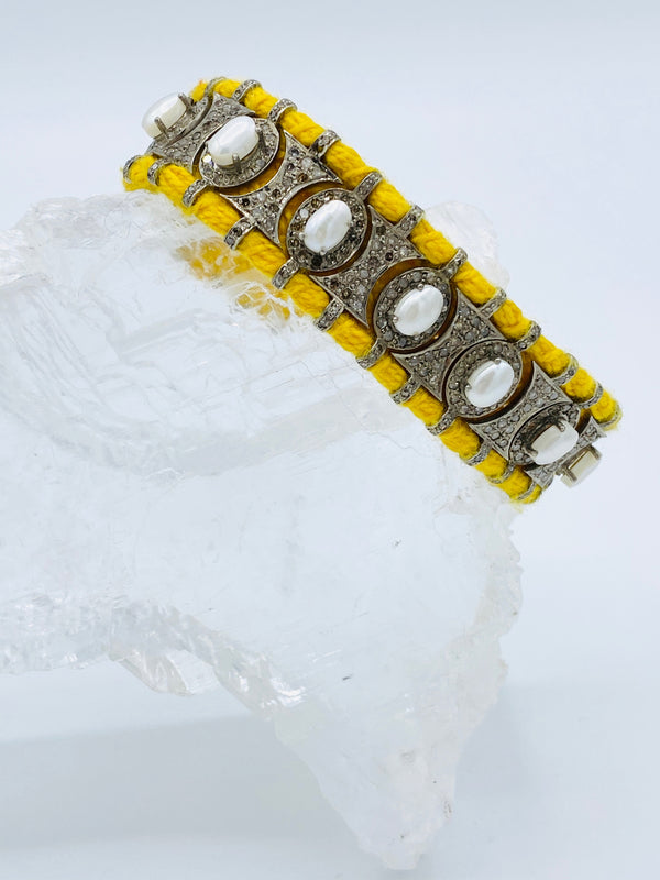 Yellow Diamond and Pearl Bracelet