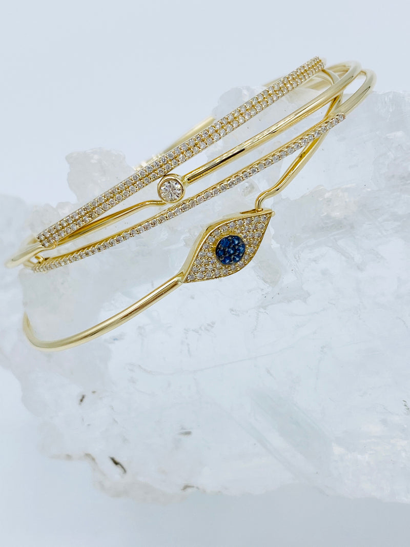 14k Gold with Single Diamond Bracelet