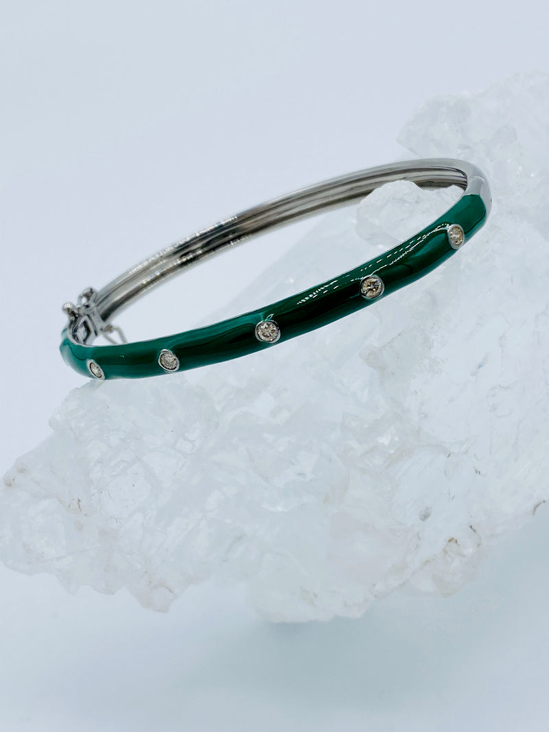 Green Enamel Bracelet with Diamonds