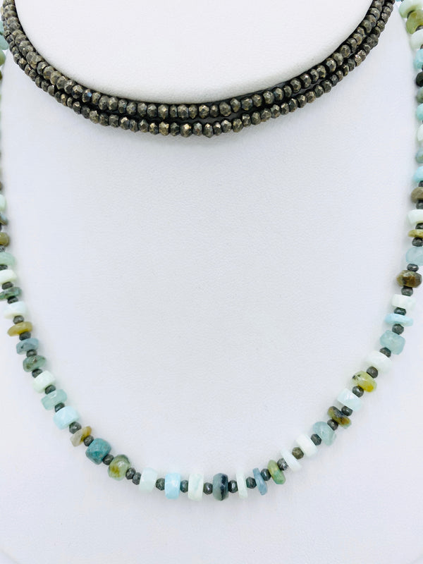 Pyrite and Aqua Bead Necklace