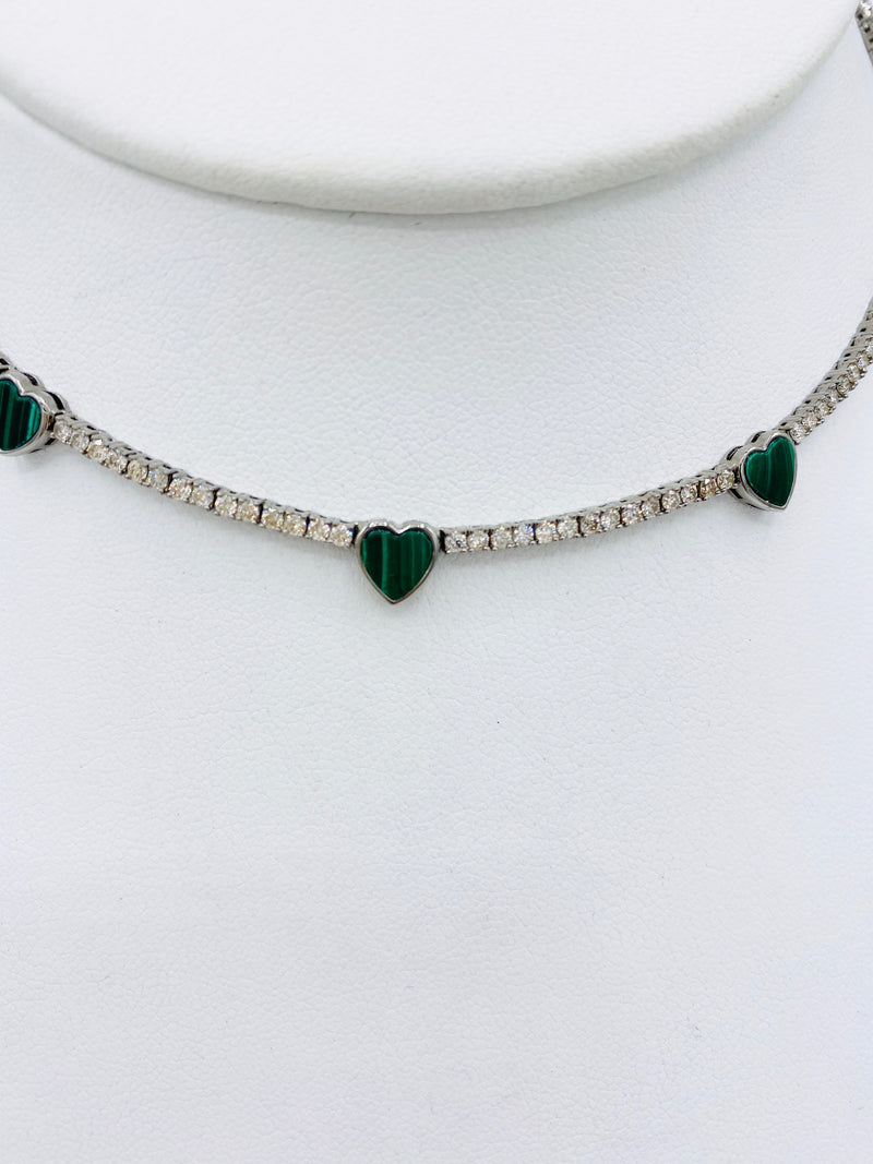 Heart Emerald and Diamond Necklace