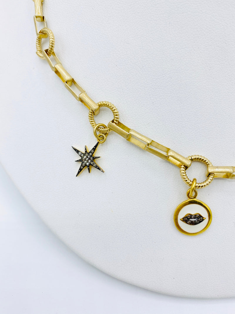 Moon and Star Charm Necklace