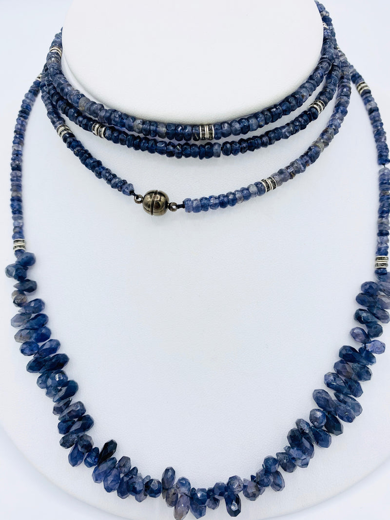 Iolite Long Bead Necklace