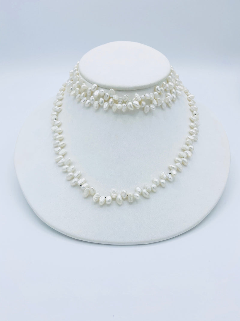 Dimple Pearl Necklace w/ Spinel Latch