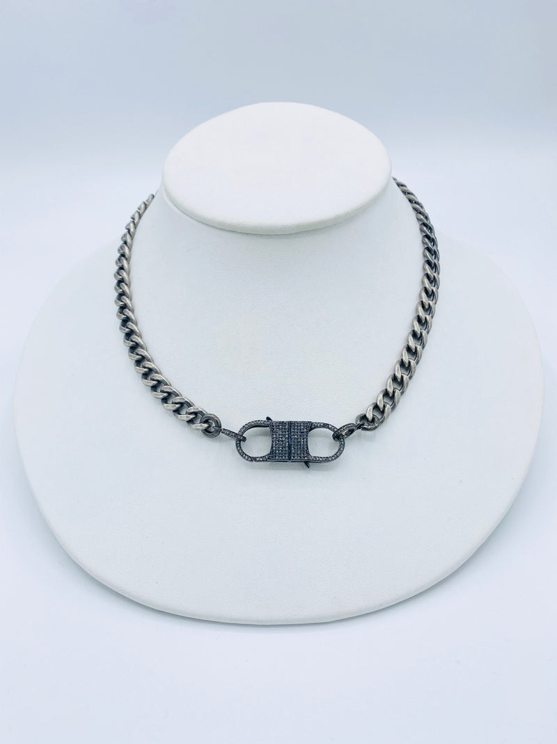Sterling Silver Chain Necklace with Double Diamond Lock