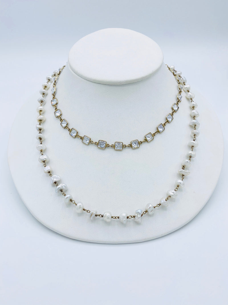 Gold Pearl & Clear Quartz Necklace