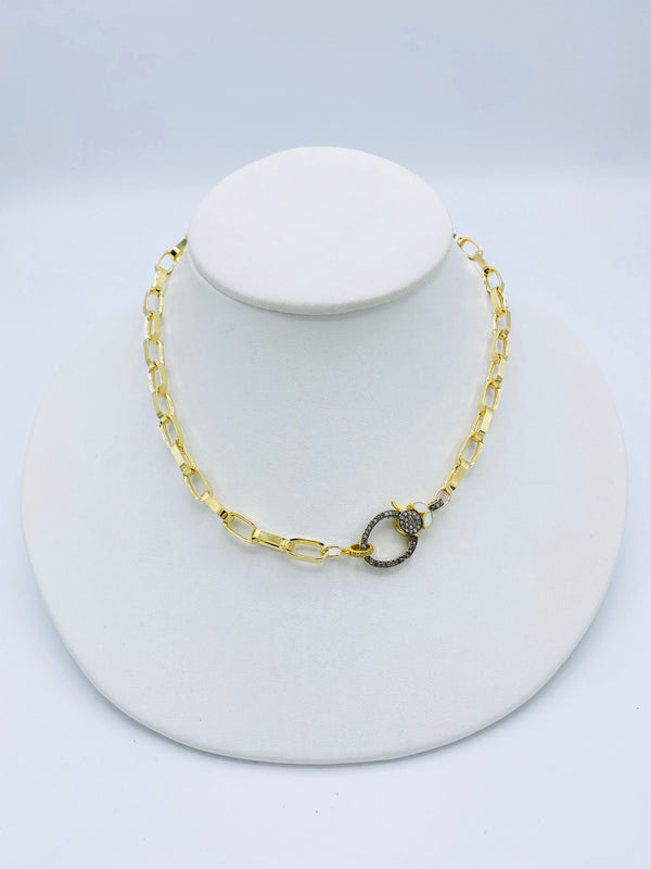 White Enamel Link Necklace
