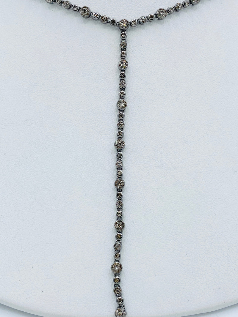Silver and Diamond Lariat Necklace