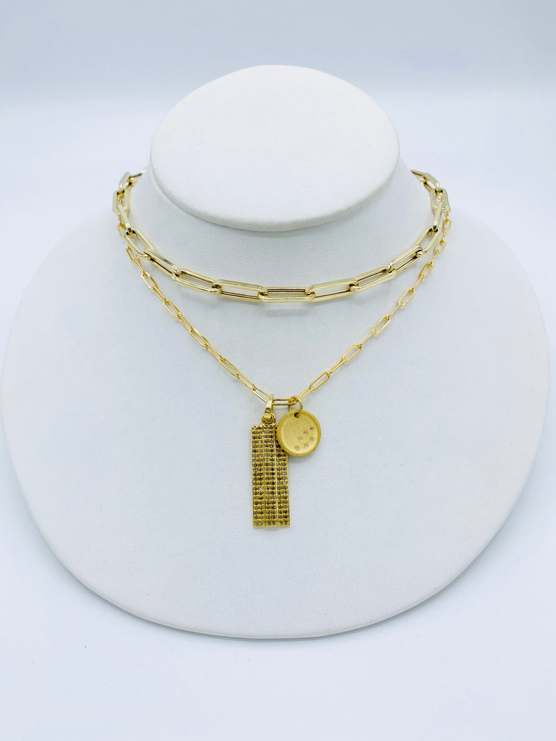 Paperclip Gold Chain with Diamond Ring Clip