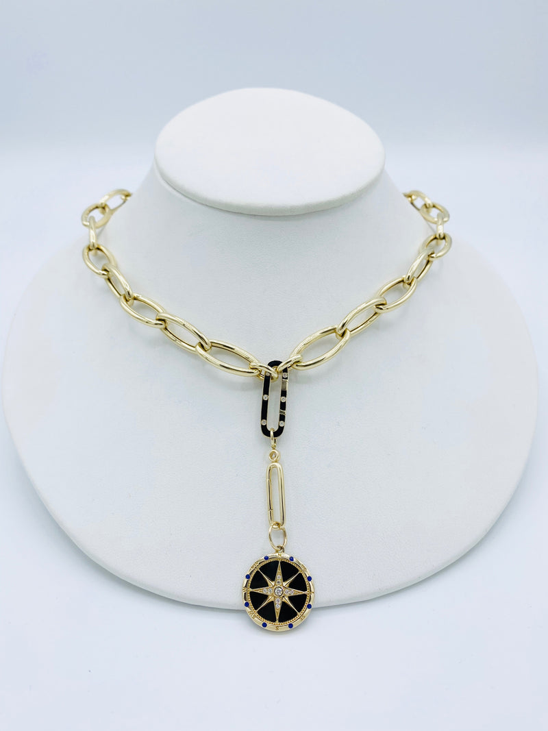 14k Gold Chain with Diamond Enhancer and Black Enamel Charm