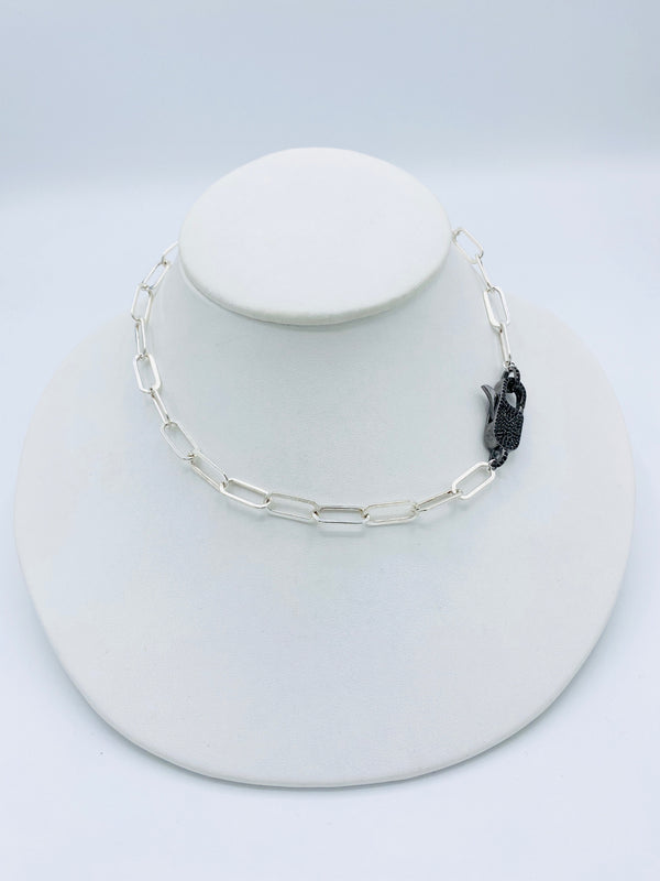 White Silver with Black Spinel Diamond Lock Necklace