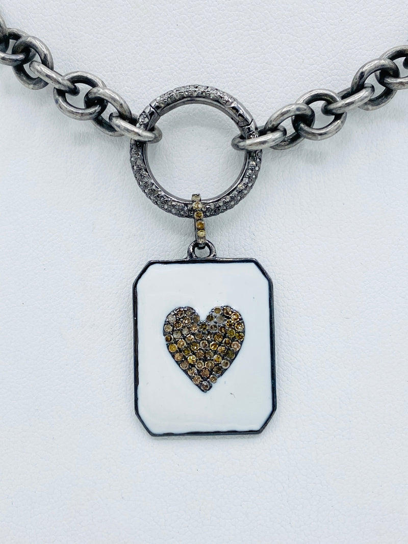 Sterling Silver Chain with Enamel Heart Tag Necklace