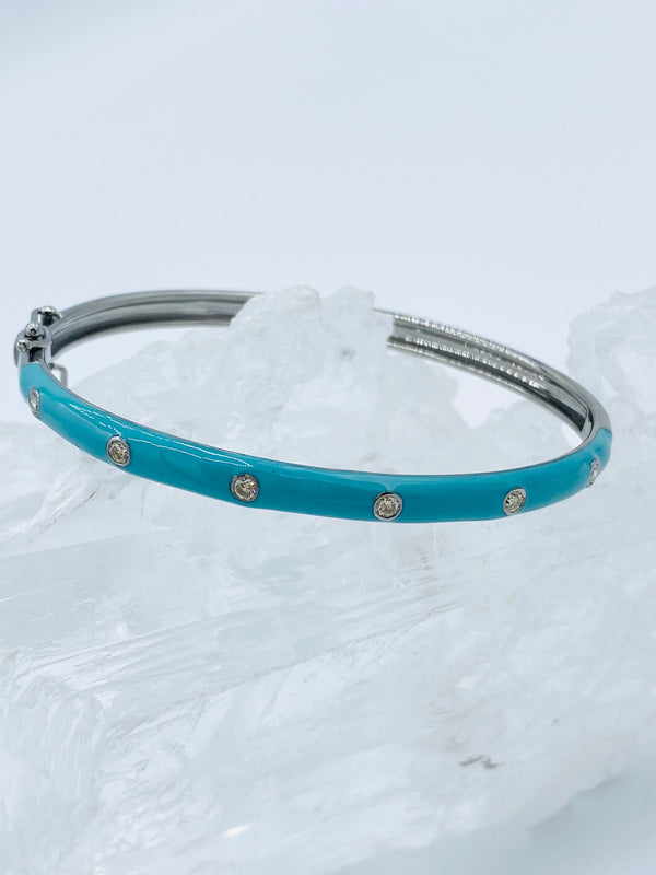 Turquoise Enamel with Diamonds Bracelet