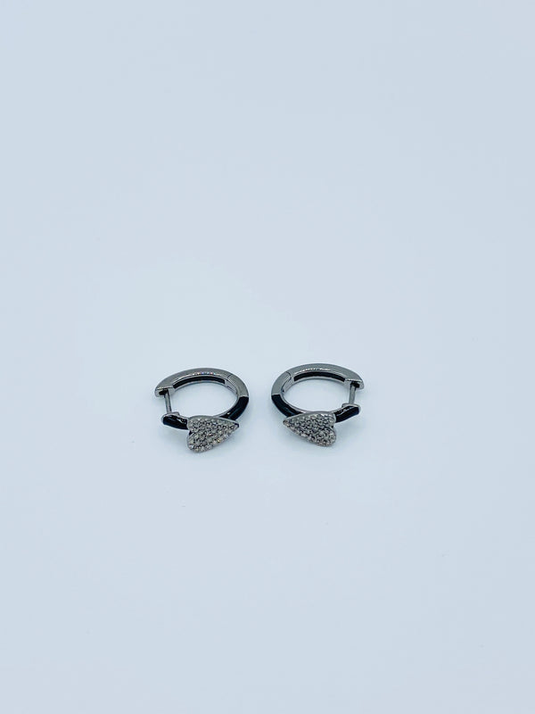 Diamond Folded Heart with Black Enamel Earrings