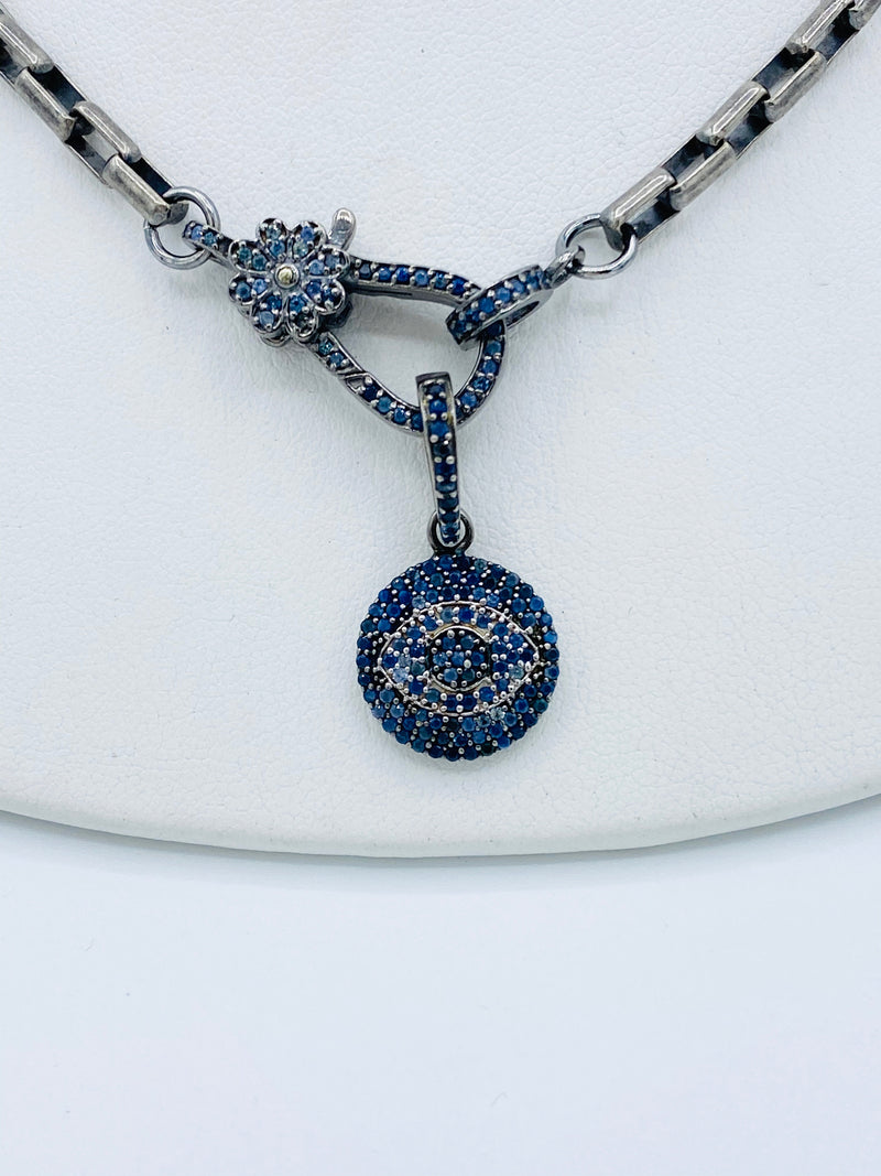 Sterling Silver & Sapphire Evil Eye Necklace