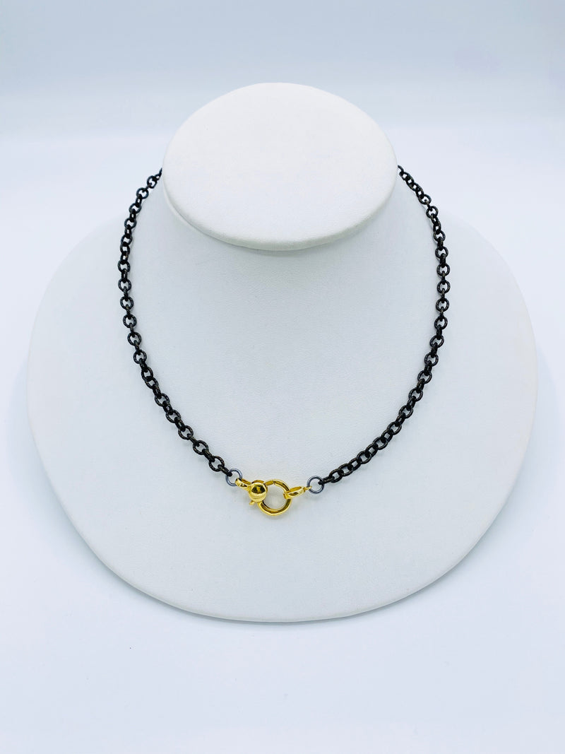 Black Chain and Gold Latch Necklace