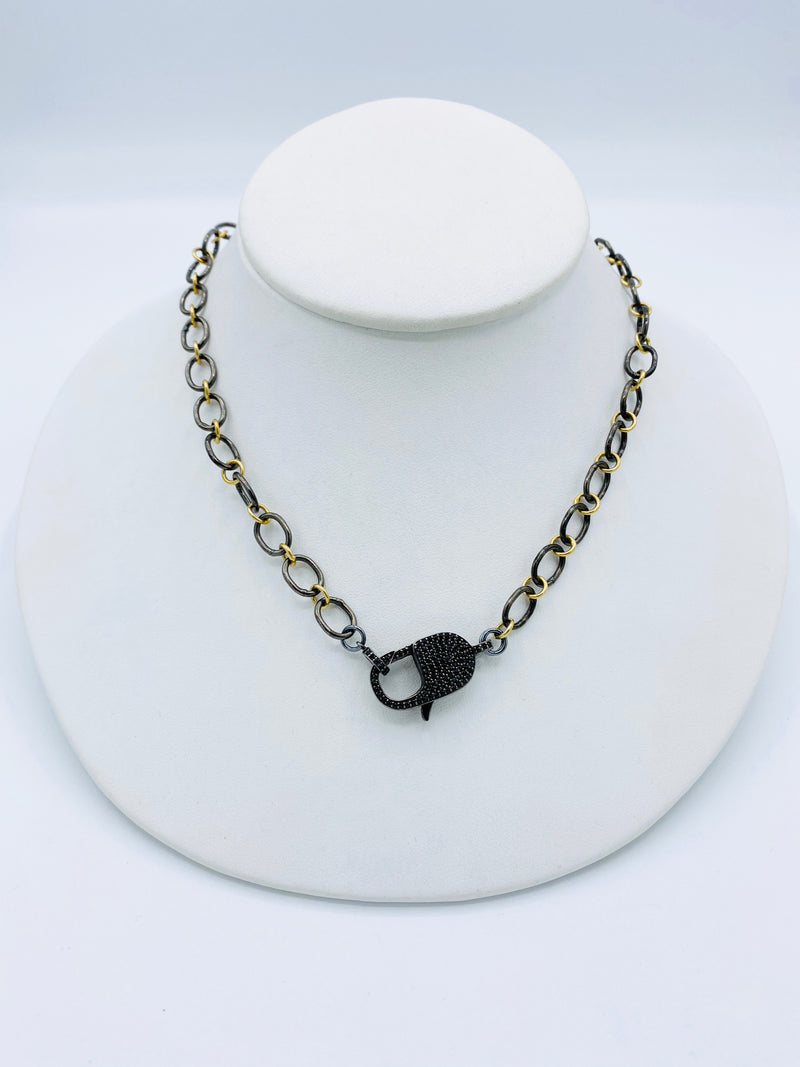 Two Toned with Spinel Latch Necklace
