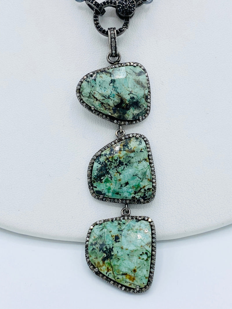 Sterling Silver Three Turquoise Drop Necklace