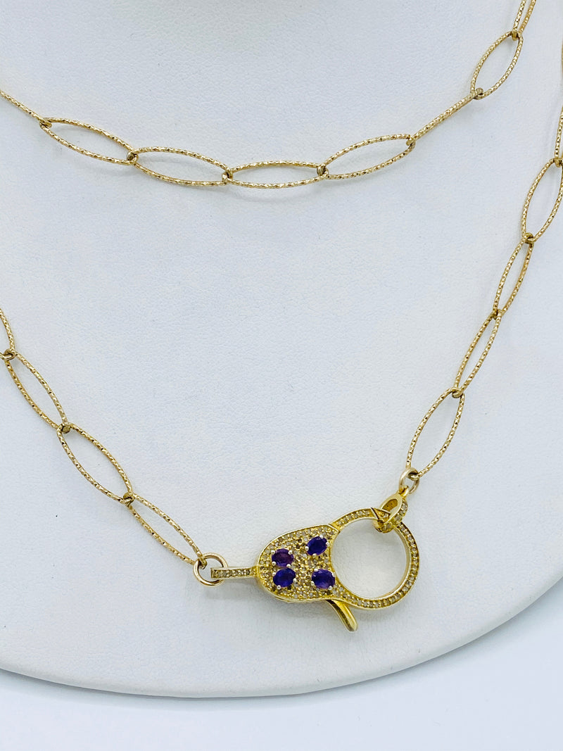 Gold with Diamond Amethyst Latch Necklace