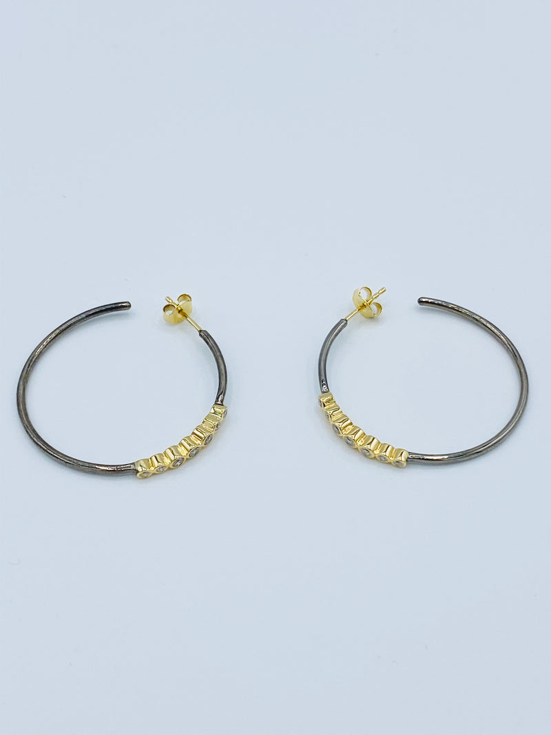 14k Gold and Sterling Silver Diamond Hoops