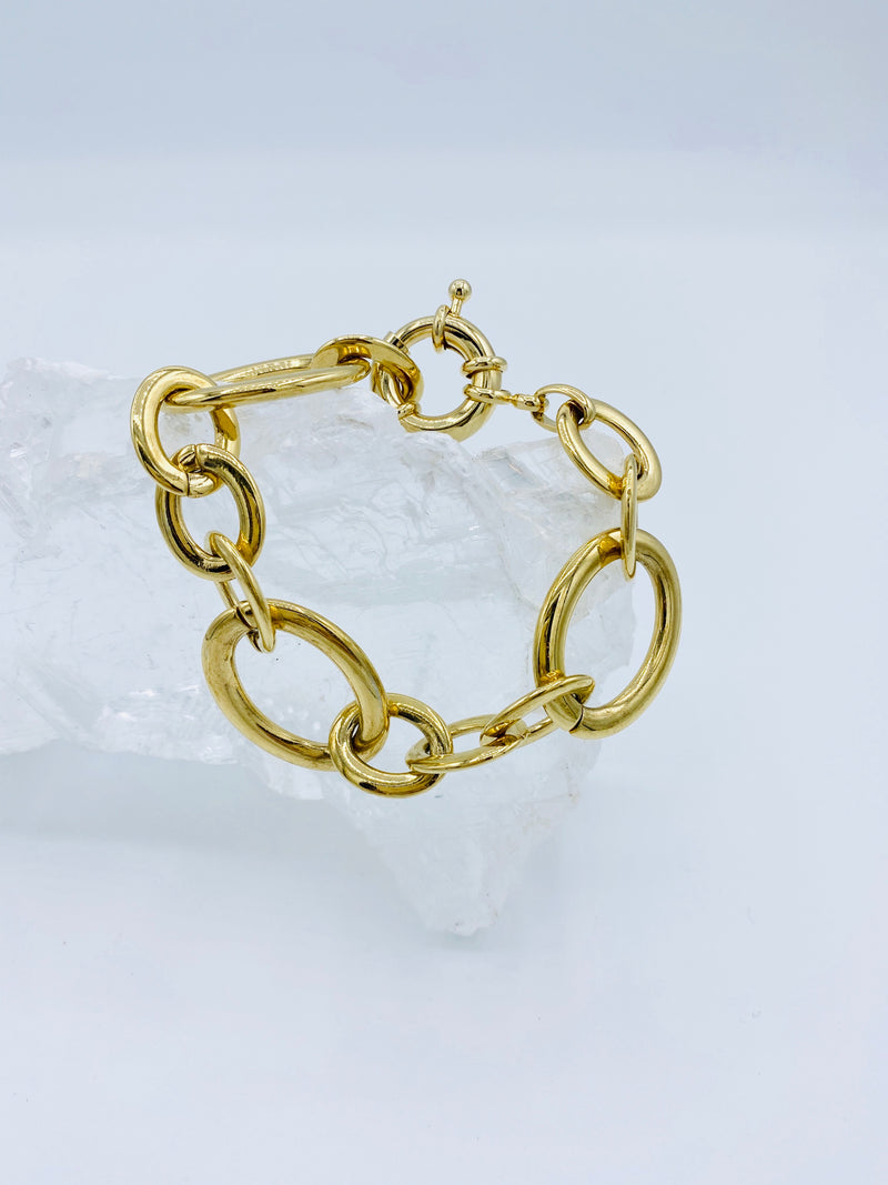 Gold Bracelet with Boot Circle Latch