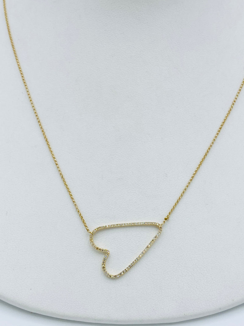 14k Gold Tilt Heart Necklace