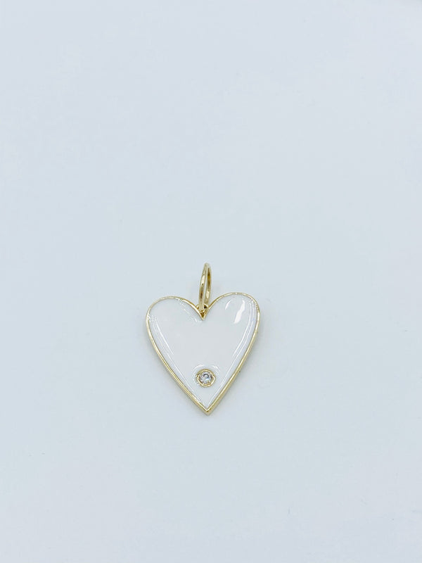 White Enamel 14k Gold Single Heart Charm