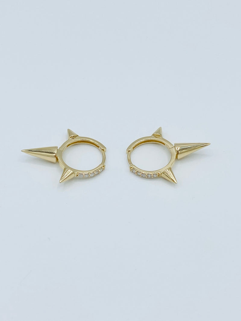14k Gold Spike Earrings