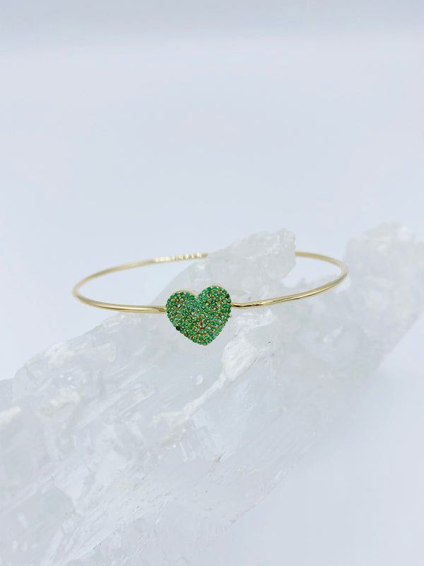 14k Gold Heart Bracelet with Emerald Stones