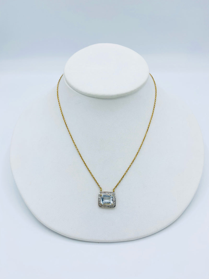 Aquamarine Gold Plate Necklace