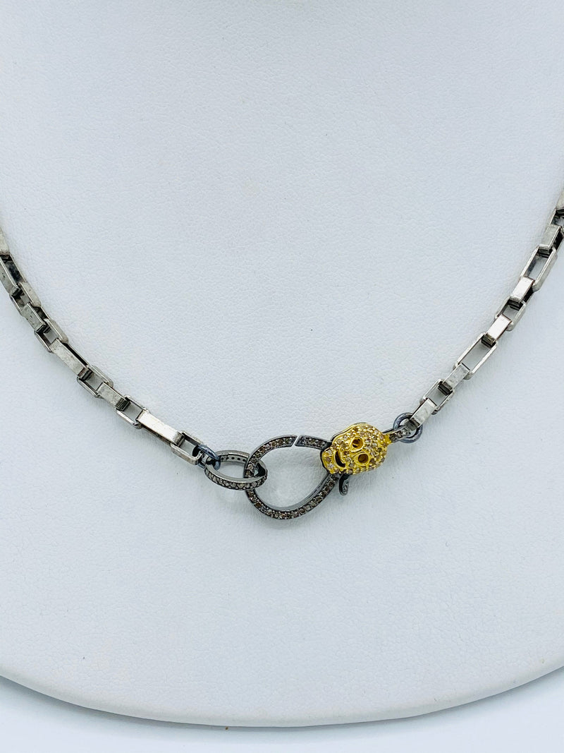 Sterling Silver with Skull Latch Necklace