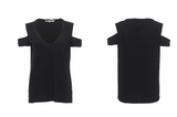 Pam & Gela - V-Neck Cold Shoulder Tee
