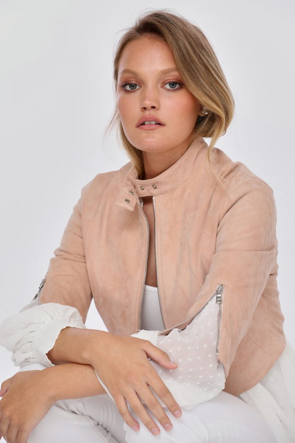 Stretch Suede Tab Collar Jacket
