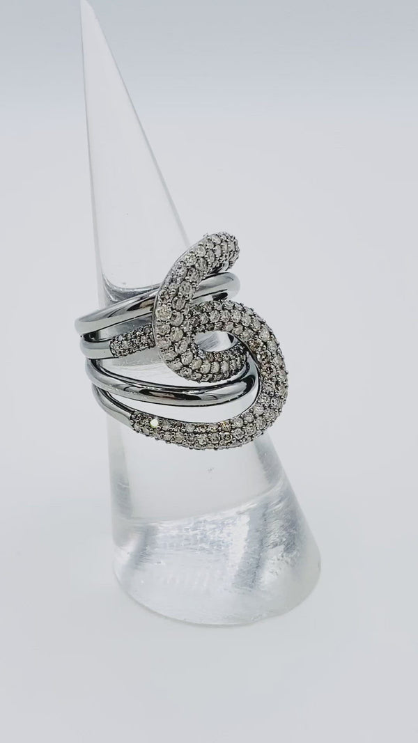 Loops Sterling Silver and Diamond Ring