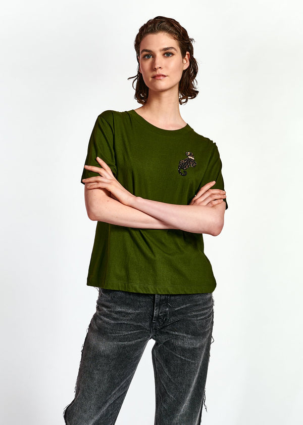 Wanthera T-Shirt with Beaded Panther Detail