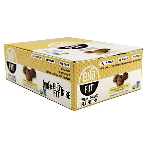 Bhu Foods Vegan BHU Fit Bar - Superfood Chocolate Chip Cookie Dough - 12 Bars - 858087006039