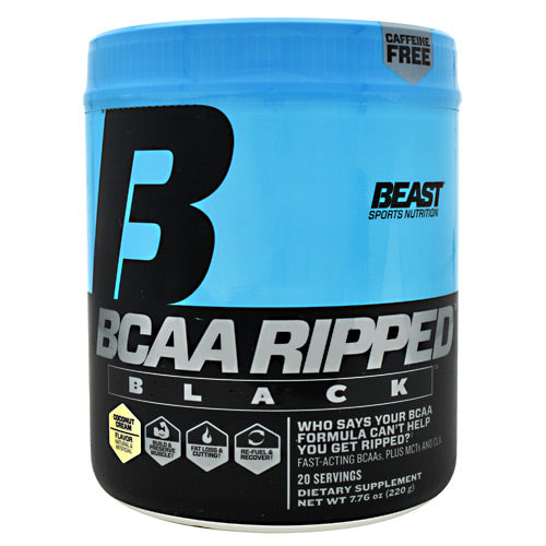 Beast Sports Nutrition Black BCAA Ripped - Coconut Cream - 20 Servings - 631312701110