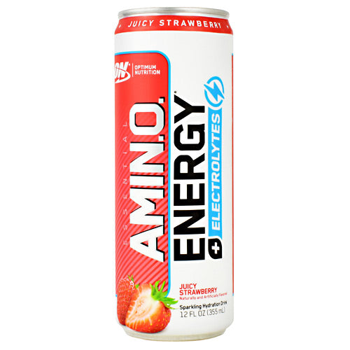 Optimum Nutrition Essential Amino Energy + Electrolytes RTD - Juicy Strawberry - 12 Cans - 60748927060609
