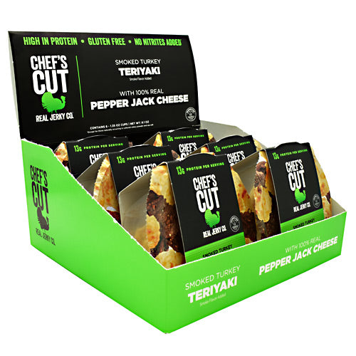 Chefs Cut Real Jerky Protein Snack Pack - Smoked Turkey Teriyaki & Pepper Jack Cheese - 6 ea - 10854088007188