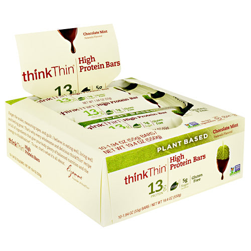 Think Products Plant Based High Protein Bar - Chocolate Mint - 10 Bars - 753656714202