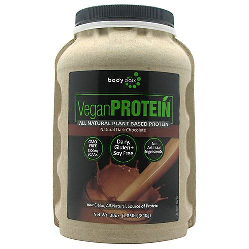 BodyLogix Alll Natural Plant-Based Protein - Natural Dark Chocolate - 1.85 lb - 694422031874