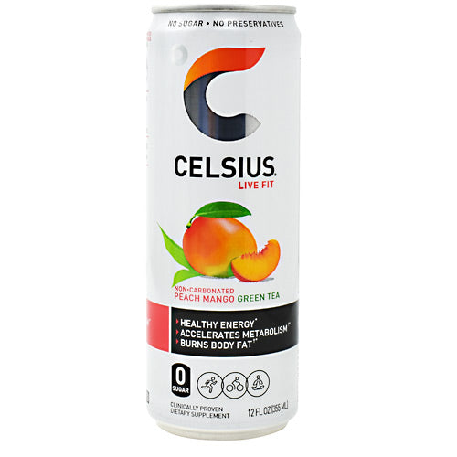 Celsius Non-Carbonated Celsius - Peach Mango Green Tea - 12 Cans - 889392010558